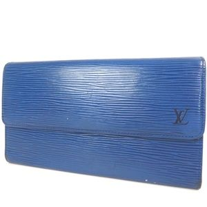 Blue VUITTON Epi Portefeiulle Wallet Purse FIRM